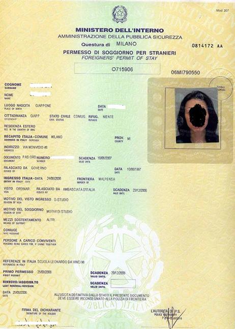 Awesome carta di soggiorno per familiare di cittadino for Permesso di soggiorno schengen