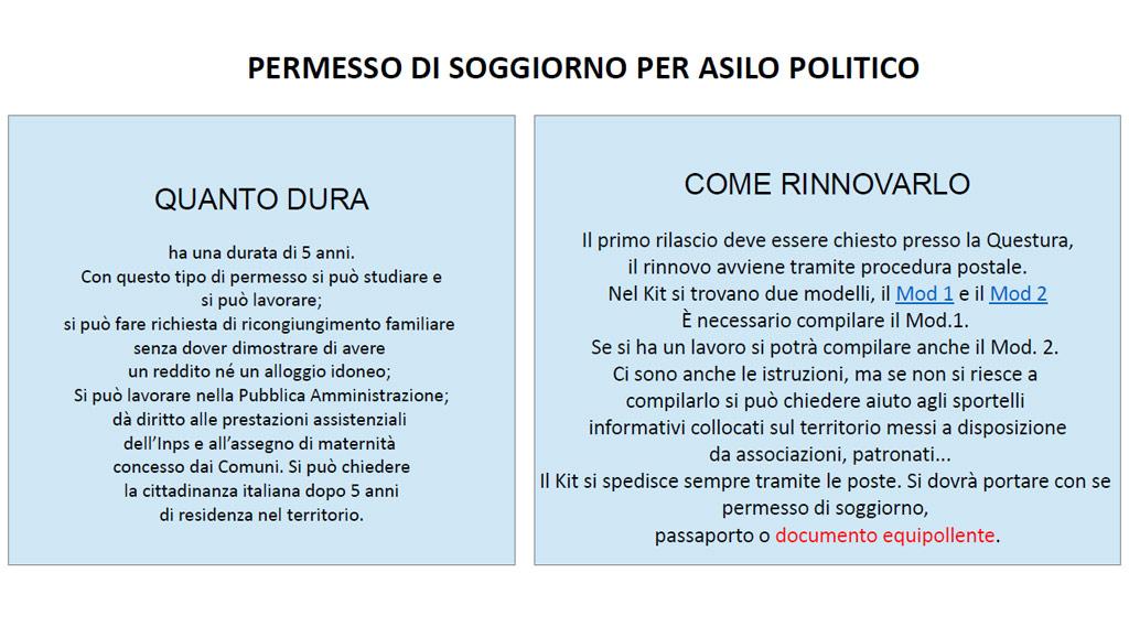 PERMESSO DI SOGGIORNO PER ASILO POLITICO | Benvenuti a Caserta