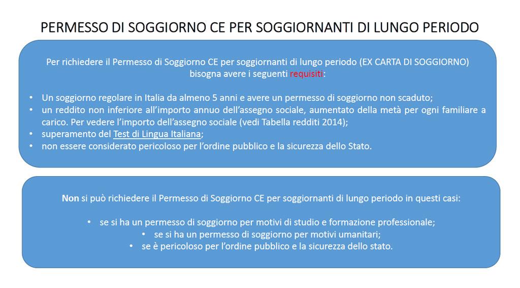 PERMESSO DI SOGGIORNO CE PER SOGGIORNANTI DI LUNGO PERIODO ...